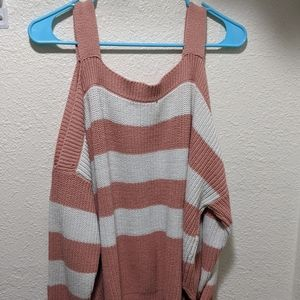 Strapped sweater off the shoulder pink